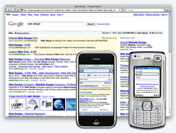 Mobile Web site Design Comparison