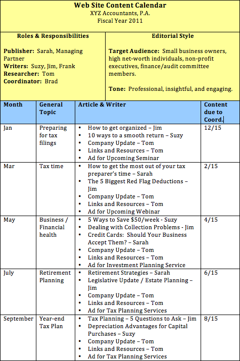 Sample Web Site Content Calendar for XYZ Accounting Firm