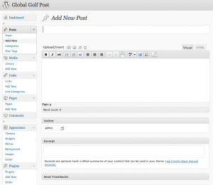 Global Golf Post Portal - Administrative Interface
