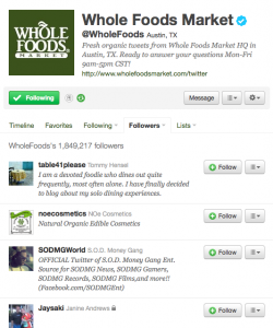 Whole Foods Twitter Followers