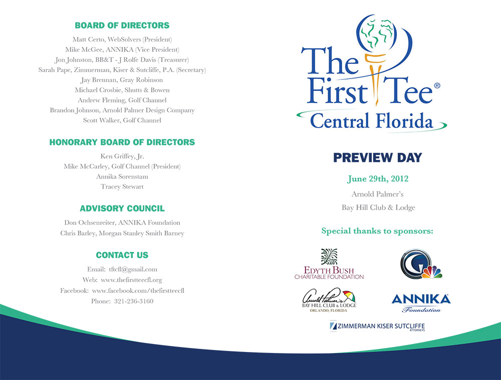 Print materials designed within the national brand standards of The First Tee