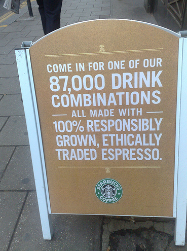 Starbucks Combinations like Web Design Metrics