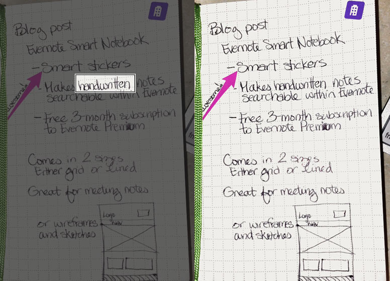 Evernote makes your handwritten text searchable