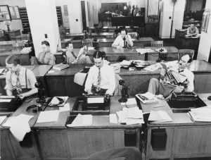 """The New York Times newsroom 1942"" by Marjory Collins"